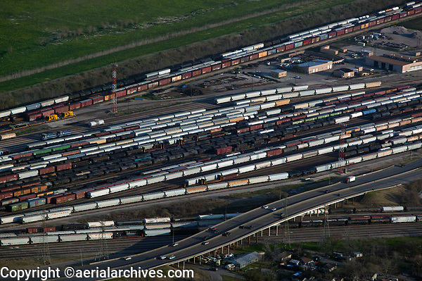 aerial photograph of the Port Terminal Railroad Rail Yard, Houston, Texas