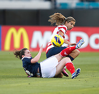 Tobin Heath, Joanne Love  The USWNT defeated Scotland, 4-1, during a friendly at EverBank Field in Jacksonville, Florida.