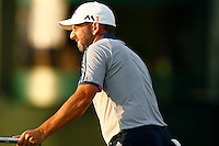 Sergio Garcia reacts following his putt on the 11th green during the 2016 U.S. Open in Oakmont, Pennsylvania on June 18, 2016. (Photo by Jared Wickerham / DKPS)