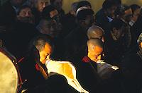 Tibetan monks of Namgyl Monastery during Losar, the Tibetan New Year celebration