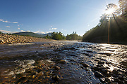 East Branch of the Pemigewasset River during the summer months in Lincoln, New Hampshire.