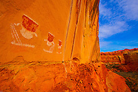 Faces on high wall<br /> National Park, Utah<br /> Ancestral Puebloan pictographs<br /> Location secret to protect resource