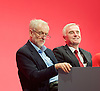 Labour Conference, Brighton, Great Britain <br /> 28th September 2015 <br /> <br /> Jeremy Corbyn and John McDonnell <br /> on stage <br /> <br /> <br /> Photograph by Elliott Franks <br /> Image licensed to Elliott Franks Photography Services