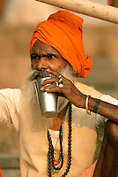 Sadhus in India have left behind all material attachments for a life of spiritual devotion. There are 4-5 million Sadhus in India and met with both respect and suspicion. They are often wear ochre-colored clothing, which symbolizes renunciation, and found in large numbers in pilgrimage cities such as Pushkar and Varanasi.