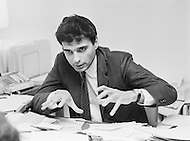 February 1971, Washington, DC, USA --- Consumer advocate Ralph Nader at work, in his office. --- Image by © JP Laffont