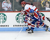 Ryan Ruikka (BU - 2), Ryan McGrath (UML - 10) - The visiting University of Massachusetts Lowell River Hawks defeated the Boston University Terriers 3-0 on Friday, February 22, 2013, at Agganis Arena in Boston, Massachusetts.