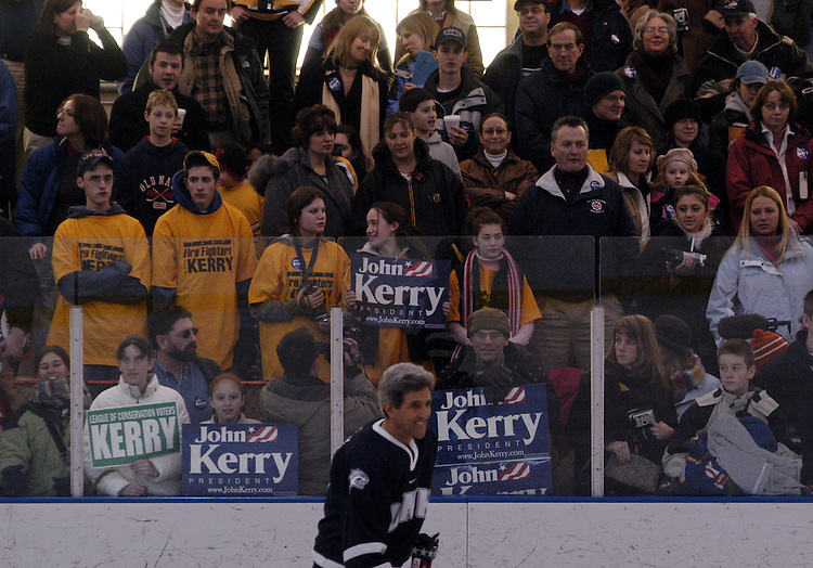 Democratic presidential candidate Sen. John Kerry, D-Ma.,  played in a ice hockey game with local players and Bruins members at the John F. Kennedy Memorial Ice Skating Rink in Manchester, NH. The event was heavily attended, with numerous fire fighters, media, and local ice hockey fans.