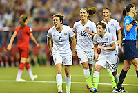 Montreal, Canada - Tuesday, June 30, 2015: The USWNT go ahead of Germany 2-0 in Semi-final action during FIFA Women's World Cup 2015 at Olympic Stadium.