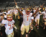 Lafayette High's Jeremy Liggins (1) vs. Laurel in the MHSAA Class 4A championship game at Mississippi Veterans Memorial Stadium in Jackson, Miss. on Saturday, December 3, 2011. Lafayette won 39-29, the team's 32 straight win, to capture their second consecutive state championship.