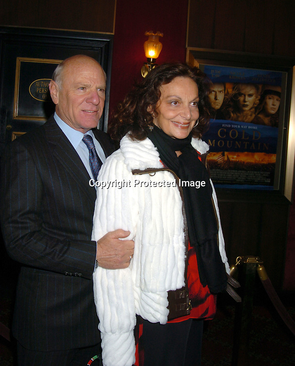 """Barry Diller and wife Diane Von Furstenberg..at the New York premiere of """" Cold Mountain"""" at the ..Ziefeld theatre on December 9, 2003.  Photo by Robin Platzer, Twin Images"""