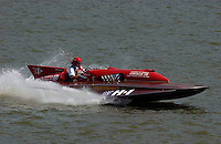 """2003 Madison Regatta, 5-6 July 2003, Madison, IN USA                                .Buddy Byers, """"Chrysler Queen"""" H-1, 7 Litre Division I Lauterbach hydroplane..F. Peirce Williams .photography.P.O.Box 455  Eaton, OH 45320 USA.p: 317.358.7326  fpwp@mac.com"""