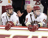 Chris Kreider (BC - 19), Jerry York (BC - Head Coach), Jimmy Hayes (BC - 10) - The Boston College Eagles defeated the visiting University of Massachusetts-Lowell River Hawks 5-3 (EN) on Saturday, January 22, 2011, at Conte Forum in Chestnut Hill, Massachusetts.