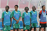 12 August 2008: Nigeria substitutes. From left: Edith Eduviere (NGA), Kikelomo Ajayi (NGA), Ayisat Yusuf (NGA), Tawa Ishola (NGA), Tochukwu Oluehi (NGA).  The women's Olympic team of Brazil defeated the women's Olympic soccer team of Nigeria 3-1 at Beijing Workers' Stadium in Beijing, China in a Group F round-robin match in the Women's Olympic Football competition.