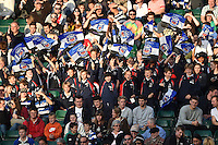 Bath supporters in the crowd wave flags in celebration. West Country Challenge Cup match, between Bath Rugby and Gloucester Rugby on September 26, 2015 at the Recreation Ground in Bath, England. Photo by: Patrick Khachfe / Onside Images