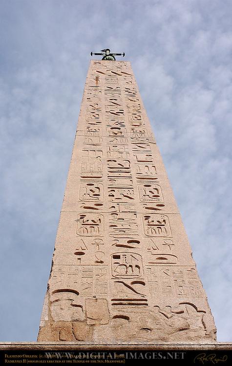 Flaminio Obelisk Ramesses II 1250 BC detail of Hieroglyphics Piazza del Popolo Rome