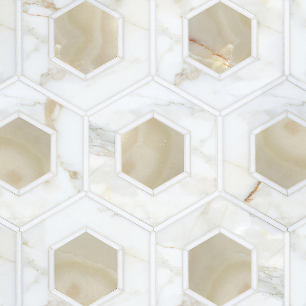Ruche, a waterjet stone mosaic, shown in polished Calacatta, polished Thassos, and Cream Onyx.