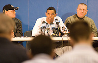 Terrelle Pryor #2 of the Ohio State Buckeyes speaks while sitting next to his mother Tony Pryor (left) and Jeannette football head coach Ray Reitz  during a press conference on National Signing Day on February 6, 2008 at Jeannette High School in Jeannette, Pennsylvania. Pryor announced he would wait to make his college decision, which turned out to be Ohio State.