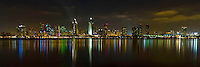 Panorama of the San Diego, CA skyline at night as seen from Coronado.