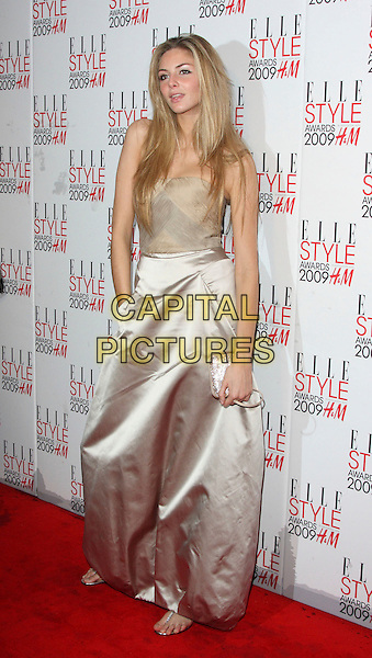 TAMSIN EGERTON .Attending the Elle Style Awards 2009 at Big Sky London, England,.February 9th 2009..arrivals full length beige strapless silver gold silk hand in pocket long maxi .CAP/ROS.©Steve Ross/Capital Pictures
