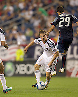 Los Angeles Galaxy midfielder Michael Stephens (26) controls the ball in the defensive zone. The New England Revolution defeated LA Galaxy, 2-0, at Gillette Stadium on July 10, 2010.