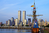 Half Moon is a full scale replica of the original Dutch ship sailed by Henry Hudson, Hudson River, Jersey City, Twin Towers and Manhattan Skyline, New York City, New York, USA