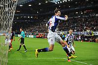 VOETBAL: HEERENVEEN: Abe Lenstra stadion 23-08-2014, SC Heerenveen - Excelsior uitslag 2 - 0, Marten de Roon scoorde de 1-0 via penalty, ©foto Martin de Jong