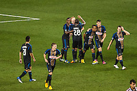 Conor Casey (6) of the Philadelphia Union celebrates scoring with teammates . The Philadelphia Union defeated the CD Chivas USA 3-1 during a Major League Soccer (MLS) match at PPL Park in Chester, PA, on July 12, 2013.