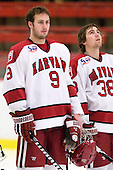 Danny Biega (Harvard - 9), Conor Morrison (Harvard - 38) - The Harvard University Crimson defeated the St. Lawrence University Saints 4-3 on senior night Saturday, February 26, 2011, at Bright Hockey Center in Cambridge, Massachusetts.