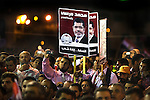 Supporters of Egyptian Islamist presidential candidate Dr. Mohamed Morsy listen to their candidate speak at a May 17, 2012 campaign rally in the Nile delta city of Benha, Egypt. Morsy, the Muslim Brotherhood's candidate once lagged far behind in the polls, but is now considered a strong underdog candidate because of the legendary organizational machine his group commands during election times. (Photo by Scott Nelson)