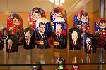 Russian nesting or Matryoshka dolls for sale in Barentsburg, a Russian coal mining town in the Norwegian Archipelego of Svalbard. These dolls feature the likeness of Russian presidents, including Putin, Medvedev, Yelstin and Gorbachev. Once home to about 2000 miners and their families, less than 500 people now live here.