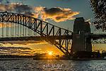 Sunset behind Sydney Harbour Bridge, Sydney, NSW, Australia