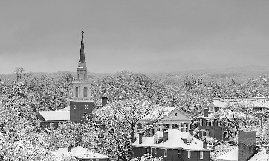 A late March snow blankets the downtown mall and the First United Methodist Church. Photo/Andrew Shurtleff