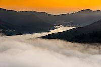 Sunrise over Kenepuru Sound in Marlborough Sounds, Nelson Region, Marlborough, South Island, New Zealand