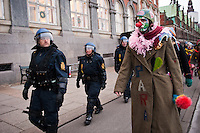 Protest in Copenhagen during the COP15 climate change summit, Denmark,14 December, 2009.