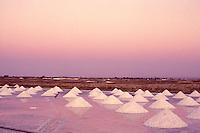 Salt mounds, sea salt harvesting in Rio Grande do Norte State, Brazil. Due to its semi-arid climate in the north coast, Rio Grande do Norte is responsible for producing over 95% of the Brazilian salt.