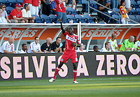 Chicago midfielder Dominic Oduro (8) salutes the Fire fans after scoring the Fire's first goal.  The Chicago Fire defeated Toronto FC 2-0 at Toyota Park in Bridgeview, IL on August 21, 2011.