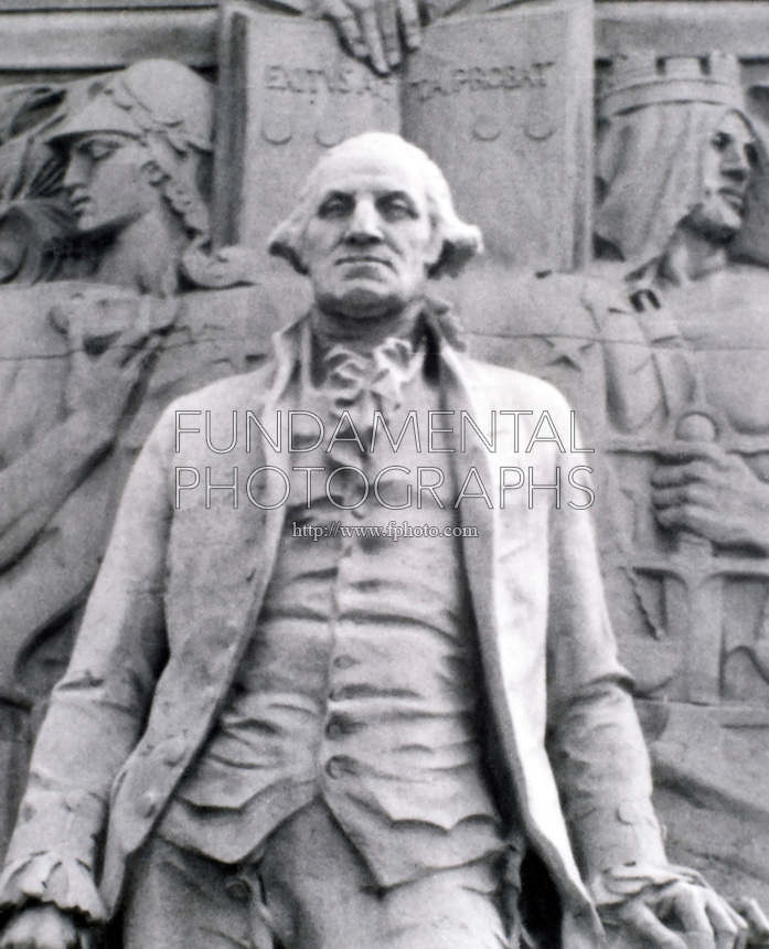 ACID RAIN DAMAGE TO STATUE OF WASHINGTON (1 of 2)<br /> Washington as President - Washington Square Arch, July 17 1935. SO2 (sulfuric dioxide) combines with atmospheric moisture (H20), yielding acid rain, or sulfuric acid (H2SO4).  Calcium carbonate in limestone statuary dilutes the sulfuric acid to form calcium sulfate, corroding the stone.