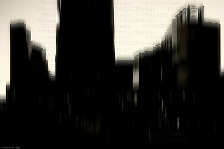 The blurred silhouettes of skyscrapers in downtown San Diego.