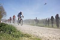 Niki Terpstra (NED/Quick-Step Floors) over the gravel 'Plugstreets'<br /> <br /> 79th Gent - Wevelgem 2017 (1.UWT)