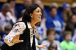 21 February 2016: Georgia Tech head coach MaChelle Joseph. The Duke University Blue Devils hosted the Georgia Tech Yellow Jackets at Cameron Indoor Stadium in Durham, North Carolina in a 2015-16 NCAA Division I Women's Basketball game. Georgia Tech won the game 64-59.
