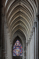Vaulted ceiling of the South side aisle of the Cathedrale Notre-Dame de Reims or Reims Cathedral, Reims, Champagne-Ardenne, France. The cathedral was built 1211-75 in French Gothic style with work continuing into the 14th century, and was listed as a UNESCO World Heritage Site in 1991. Picture by Manuel Cohen
