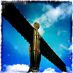 The Angel of the North is a contemporary sculpture designed by Antony Gormley which is located in Gateshead Tyne and Wear England. It is a steel sculpture of an angel, 20 metres (66 ft) tall, with wings measuring 54 metres (177 ft) across.[1] The wings do not stand straight sideways, but are angled 3.5 degrees forward; Gormley did this to create a sense of embrace