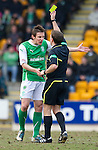 St Johnstone v Hibs....05.03.11 .Darryl Duffy argues with ref Crawford Allan.Picture by Graeme Hart..Copyright Perthshire Picture Agency.Tel: 01738 623350  Mobile: 07990 594431
