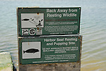 wildlife protection signs on Bolinas Lagoon
