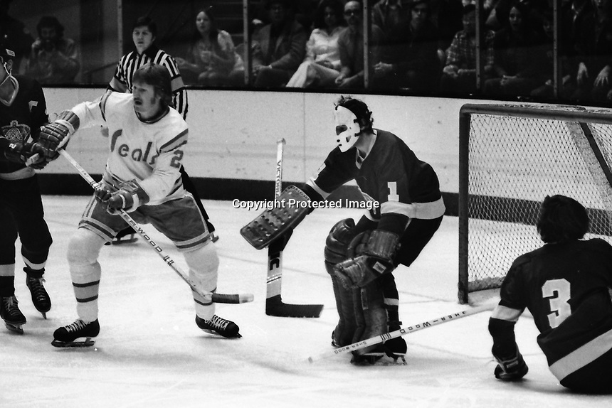Seals vs Los Angeles Kings 1975. Seals Stan Weir in front of LA goalie Gary Edwards. (photo/Ron Riesterer)<br /><br /><br /><br /><br /><br /><br /><br /><br /><br /><br /><br /><br /><br />G