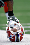 9 September 2007: Buffalo Bills linebacker Angelo Crowell's helmet supports his sideline break during a game against the Denver Broncos at Ralph Wilson Stadium in Buffalo, NY. The Broncos defeated the Bills 15-14 in the opening day matchup...Mandatory Photo Credit: Ed Wolfstein Photo