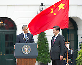 United States President Barack Obama makes remarks welcoming President XI Jinping of China during an official State arrival ceremony on the South Lawn of the White House in Washington, DC on Friday, September 25, 2015.<br /> Credit: Ron Sachs / CNP