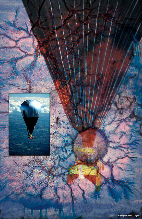 Double Eagle II transatlantic balloon crossing. A historical photo, damaged artistically by flooding caused by Hurricane Sandy in October, 2012.