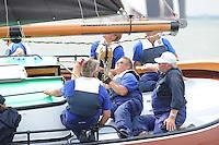 ZEILEN: LEMMER: Lemster baai, 31-07-2014, SKS skûtsjesilen, skûtsje d'Halve Maen, schipper Berend Mink, ©foto Martin de Jong