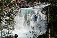 SEDIVY Jakub (Czech). Kayak downhill race in the Brandseth river. The Extremesport Week, Ekstremsportveko, is the worlds largest gathering of adrenalin junkies. In the small town of Voss enthusiasts in a varitety of extreme sports come togheter every summer to compete and play. Norway.  ©Fredrik Naumann/Felix Features.